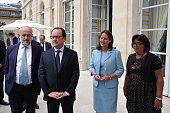 French President Francois Hollande French Environment Minister Segolene Royal and President of the ADEME Bruno Lechevin visit an exhibition during a...