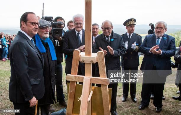 French President Francois Hollande German born and French artist Haim Kern former French prime minister Lionel Jospin and French Defense Minister...