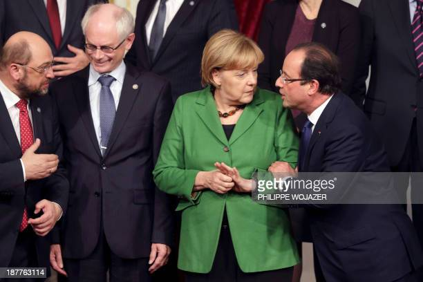 French President Francois Hollande German Chancellor Angela MerkelEuropean Council President Herman Van Rompuy and European Parliament President...