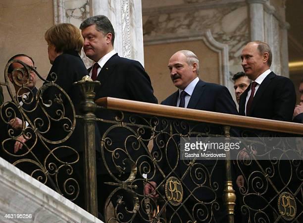 French President Francois Hollande German Chancellor Angela Merkel Ukrainian President Petro Poroshenko Belarussian President Alexander Lukashenko...