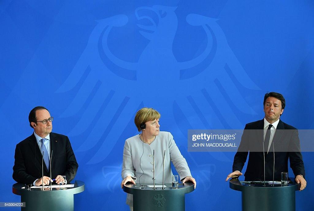 French President Francois Hollande, German Chancellor Angela Merkel and Italy's Prime Minister Matteo Renzi address a press conference ahead of talks following the Brexit referendum at the chancellery in Berlin, on June 27, 2016. Britain's shock decision to leave the EU forces German Chancellor Angela Merkel into the spotlight to save the bloc, but true to her reputation for prudence, she said she would act neither hastily nor nastily. / AFP / John MACDOUGALL