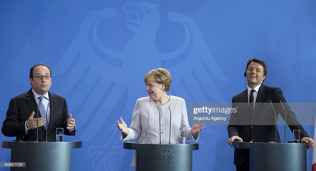 French President Francois Hollande, German Chancellor Angela Merkel and Italy's Prime Minister Matteo Renzi address a press conference ahead of talks following the Brexit referendum at the chancellery in Berlin, on June 27, 2016.