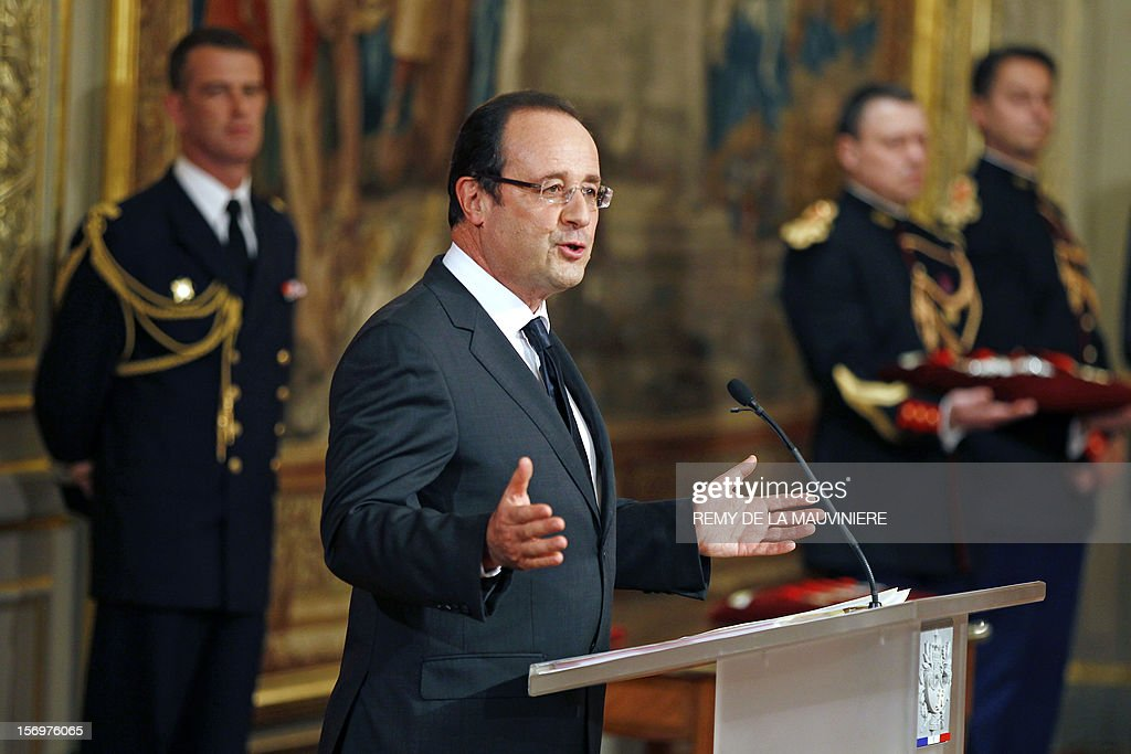 French President Francois Hollande gives a speech during an award ceremony on November 26, 2012 at the Elysee Palace in Paris.