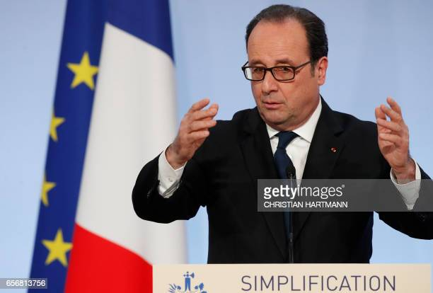 French President Francois Hollande gives his speech on state reform and simplification at the Elysee presidential Palace in Paris on March 23 2017 /...