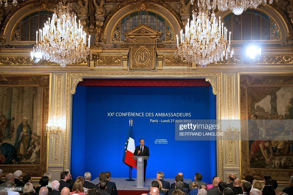 French President, Francois Hollande gives the opening speech of the 20th annual ambassador's conference on August 27, 2012 at the Elysee Presidential Palace in Paris.
