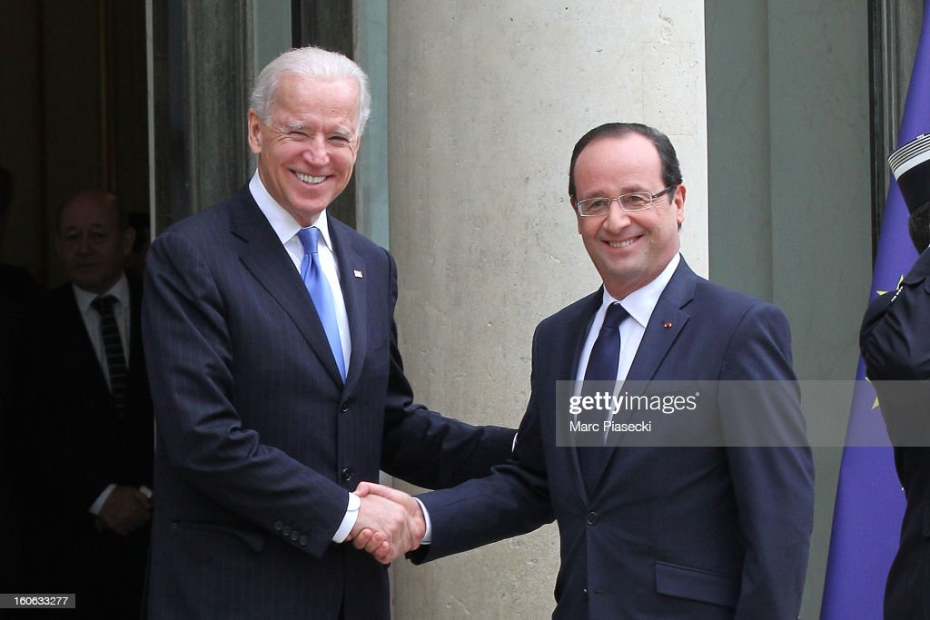 French President Francois Hollande greets Vice President of the United States of America Joe Biden ahead of a meeting at Elysee Palace on February 4, 2013 in Paris, France. The Vice President is on a five-day visit to Europe, where he met with German Chancellor Angela Merkel on Friday and after meeting with French President Francois Hollande will travel to London to meet with British Prime Minister David Cameron.
