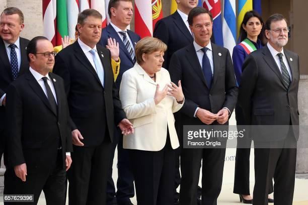 French President Francois Hollande guest German Chancellor Angela Merkel Prime Minister of the Netherlands Mark Rutte and Spanish Prime Minister...