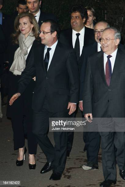 French President Francois Hollande his wife Valerie Trierweiler and CRIF's President Richard Prasquier attend the 28th Dinner of 'Conseil...