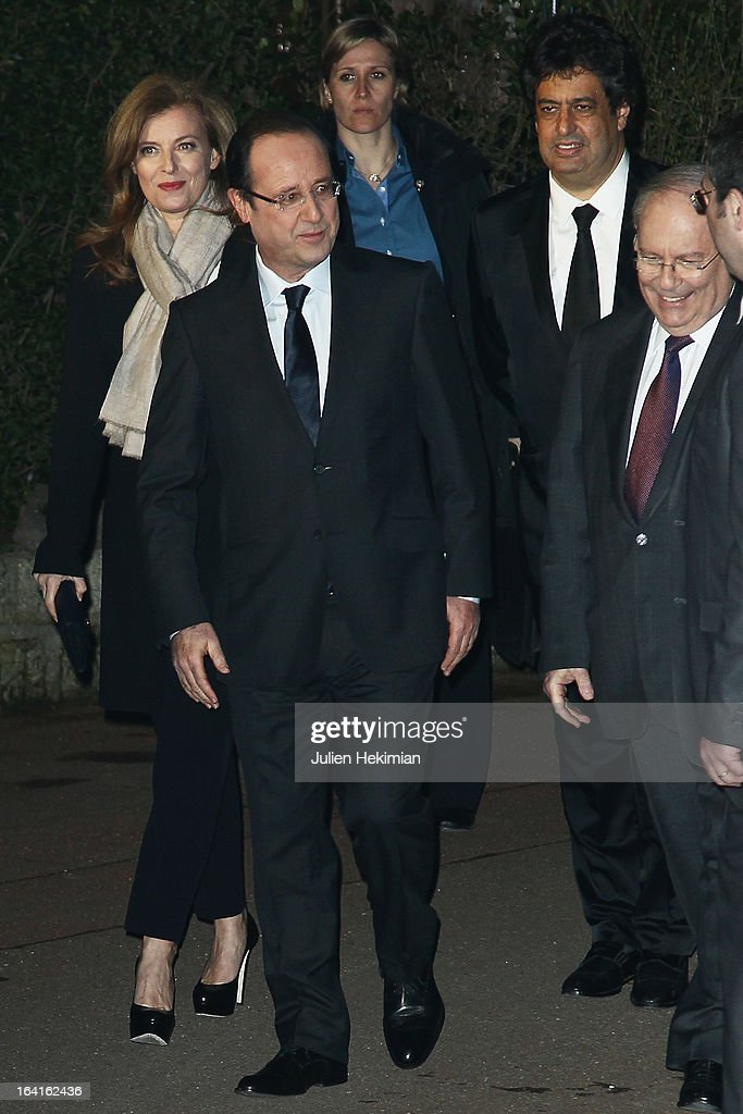 French President Francois Hollande, his wife Valerie Trierweiler and CRIF's President Richard Prasquier attend the 28th Dinner of 'Conseil Rrepresentatif Des Institutions Juives De France at Pavillon d'Armenonville on March 20, 2013 in Paris, France.