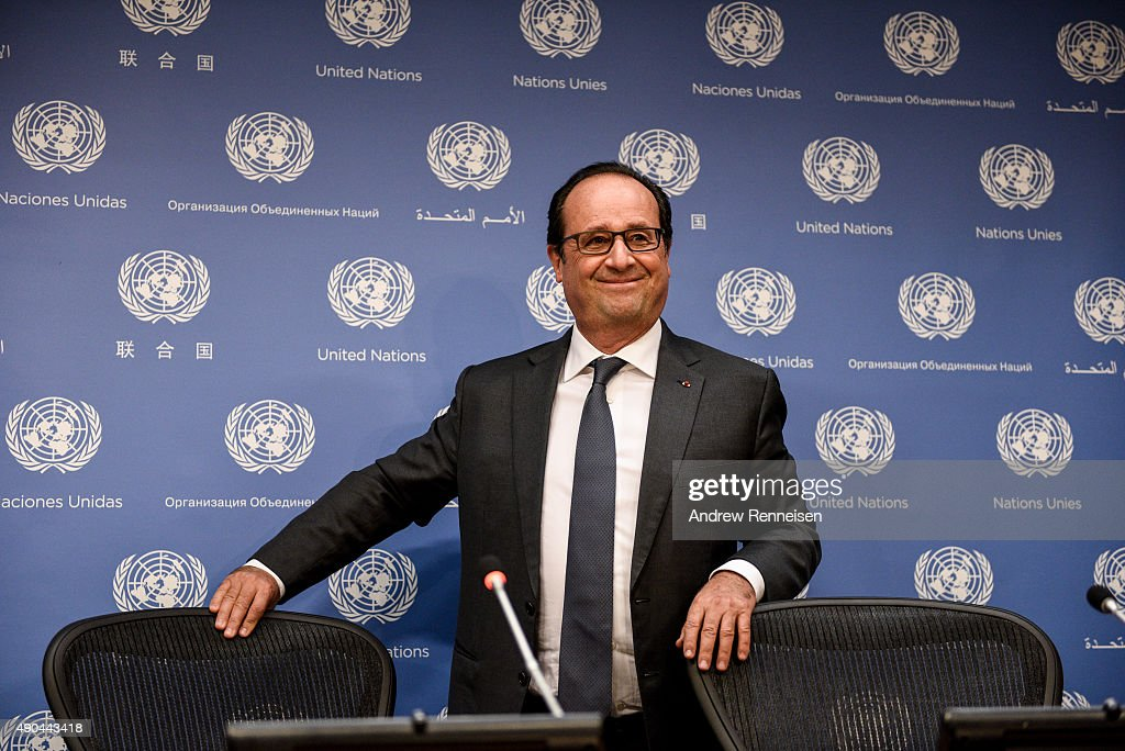 French President Francois Hollande holds a press conference after addressing the United Nations General Assembly on September 28, 2015 in New York City. World leaders gathered for the 70th session of the annual meeting.