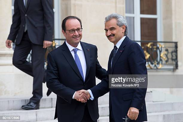 French President Francois Hollande hosts Saudi Prince AlWaleed bin Talal bin Abdulaziz Al Saoud for a meeting at the Elysee Palace on September 8...