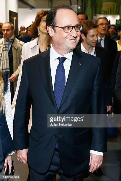 French President Francois Hollande inaugurates the 'Art Paris Art Fair 2016' at Grand Palais on March 30 2016 in Paris France