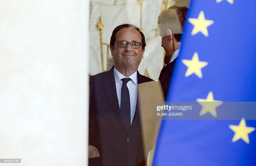 French president Francois Hollande, is pictured at the Elysee palace on July 03, 2014, in Paris-AFP PHOTO/ ALAIN JOCARD