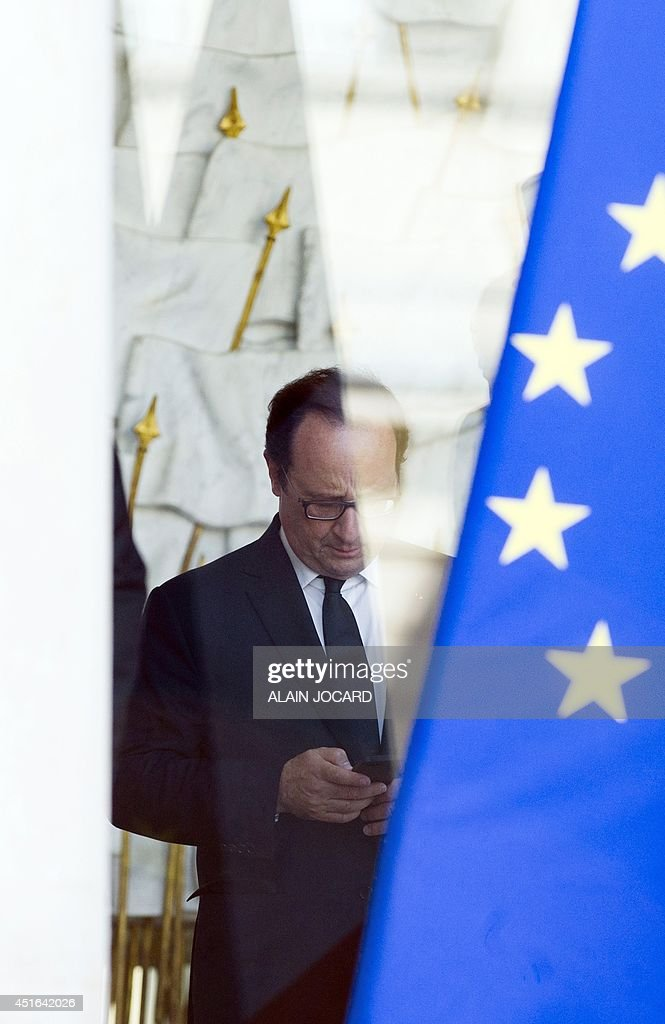 French president Francois Hollande, is pictured at the Elysee palace on July 03, 2014, in Paris-