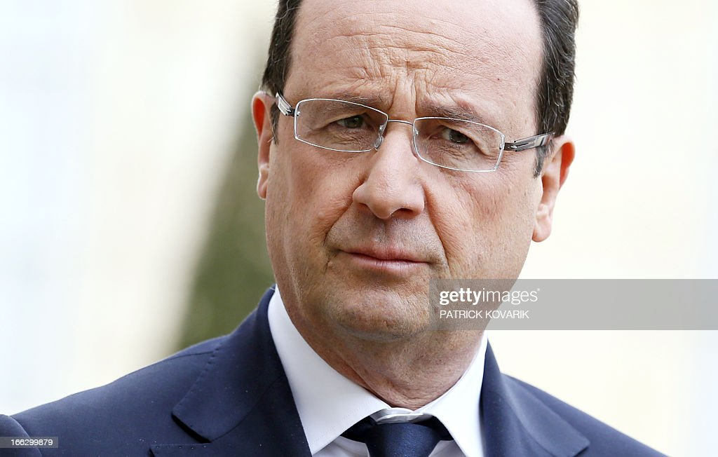 French president Francois Hollande is pictured on April 11, 2013 at the Elysee palace in Paris.