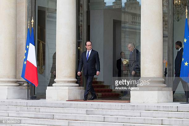 French President Francois Hollande is seen after the meeting with Syria's White Helmets leader Raed Saleh and the President of the civil committee of...