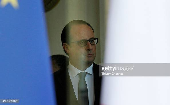 French President Francois Hollande is seen at the Elysee Palace in after a security meeting on November 14 2015 in Paris France The meeting follows a...