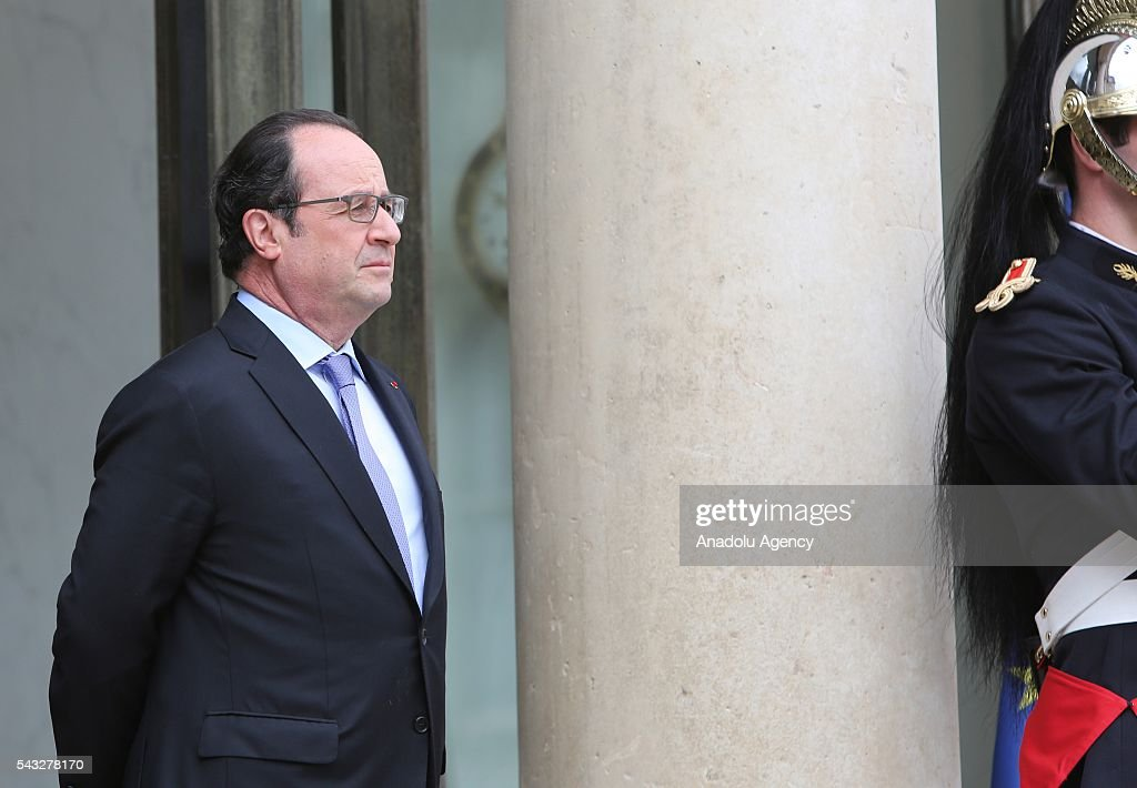 French President Francois Hollande is seen before he welcomes Saudi Defense Minister Mohammad Bin Salman Al Saud (not seen) at the Elysee Palace in Paris, France on June 27, 2016.
