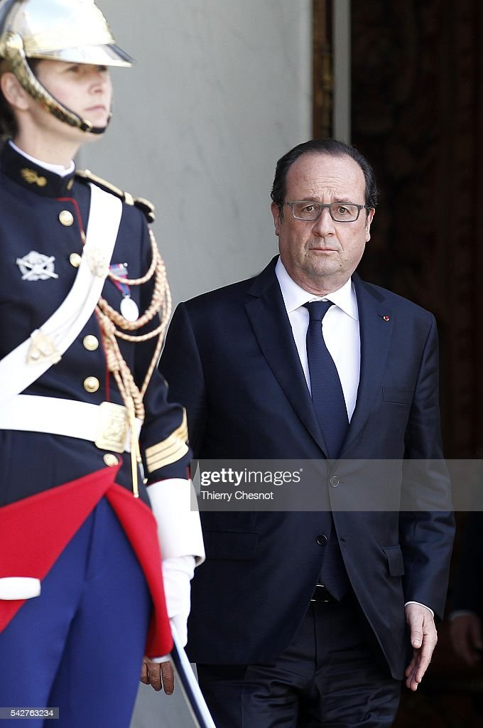 French President Francois Hollande is seen prior a meeting with French Senate President Gerard Larcher after the results of the UK Brexit referendum at the Elysee Presidential palace on June 24, 2016 in Paris, France. The United Kingdom has voted to leave the EU in a European Union (EU) referendum. British Prime Minister David Cameron announced his resignation now that the majority of British voters decided to leave the European Union.