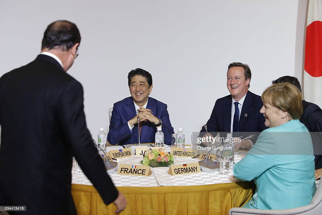 French President Francois Hollande, Japanese Prime Minister Shizo Abe, British Prime Minister <a gi-track='captionPersonalityLinkClicked' href=/galleries/search?phrase=David+Cameron+-+Politician&family=editorial&specificpeople=227076 ng-click='$event.stopPropagation()'>David Cameron</a> and German Chancellor Angela Merkel attend the Japan EU EPA/FTA meeting on May 26, 2016 in Kashikojima, Japan. In the two-day summit, the G7 leaders are scheduled to discuss the pressing global issues including counter-terrorism, energy policy, and sustainable development.