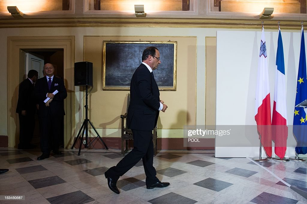 French President Francois Hollande leaves after a meeting with Malta's Prime Minister at the Verdala Palace in Valletta on October 5, 2012, during the 'Five-Plus-Five' summit. European and North African leaders held their first summit since the Arab Spring revolts today in Malta, where France, Italy, Portugal and Spain will also hold talks on the euro debt crisis.