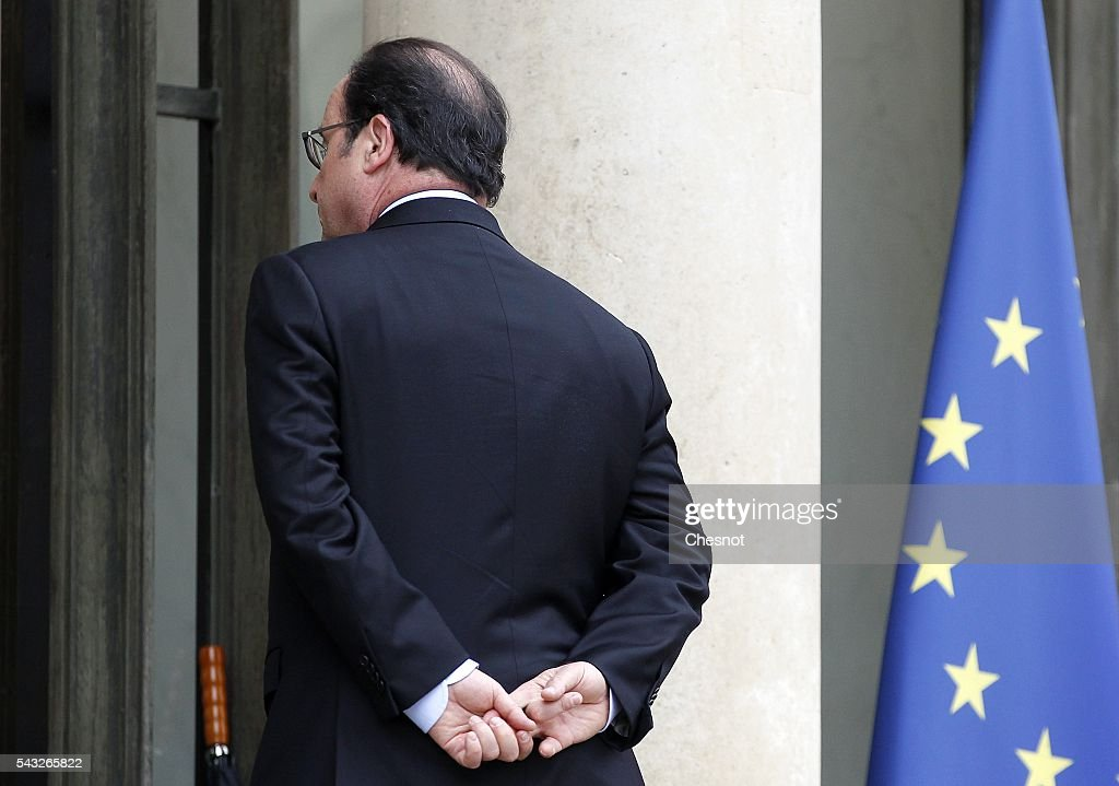 French President Francois Hollande leaves after his meeting with Bill Gates, the co-Founder of the Microsoft company and co-Founder of the Bill and Melinda Gates Foundation at the Elysee Presidential Palace on June 27, 2016 in Paris, France. Bill Gates mentioned in a short statement after his meeting with French President Francois Hollande that France was a great asset in the fight against AIDS.