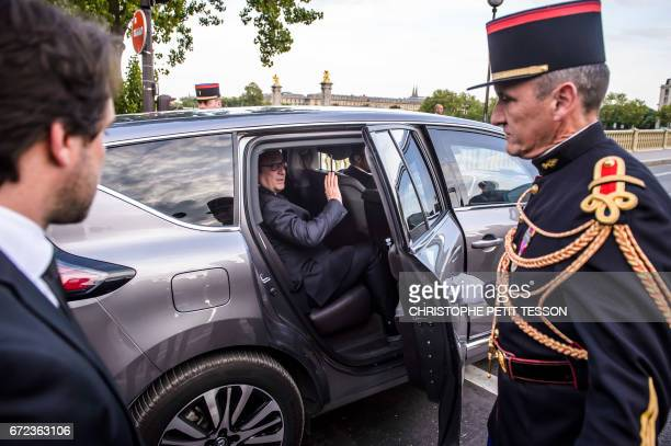 French President Francois Hollande leaves after taking part in a ceremony to mark the 102th anniversary of the Armenian genocide on 24 April 2017 in...