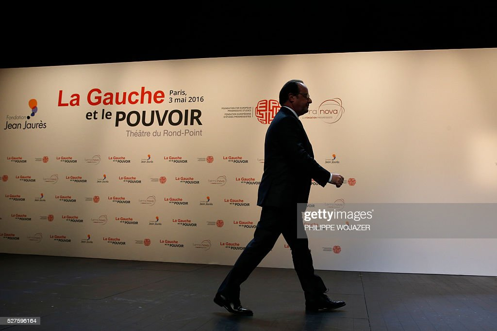 French President Francois Hollande leaves the stage after delivering a speech during the conference 'left wing and power' at the Jean-Jaures Foundation in Paris, France, May 3, 2016. Hollande defended on Tuesday his government's labour reforms law as a 'text of progress', a few hours before its examination by the parliament, adding he sees it as a 'dynamic and fair compromise'. / AFP / POOL / PHILIPPE
