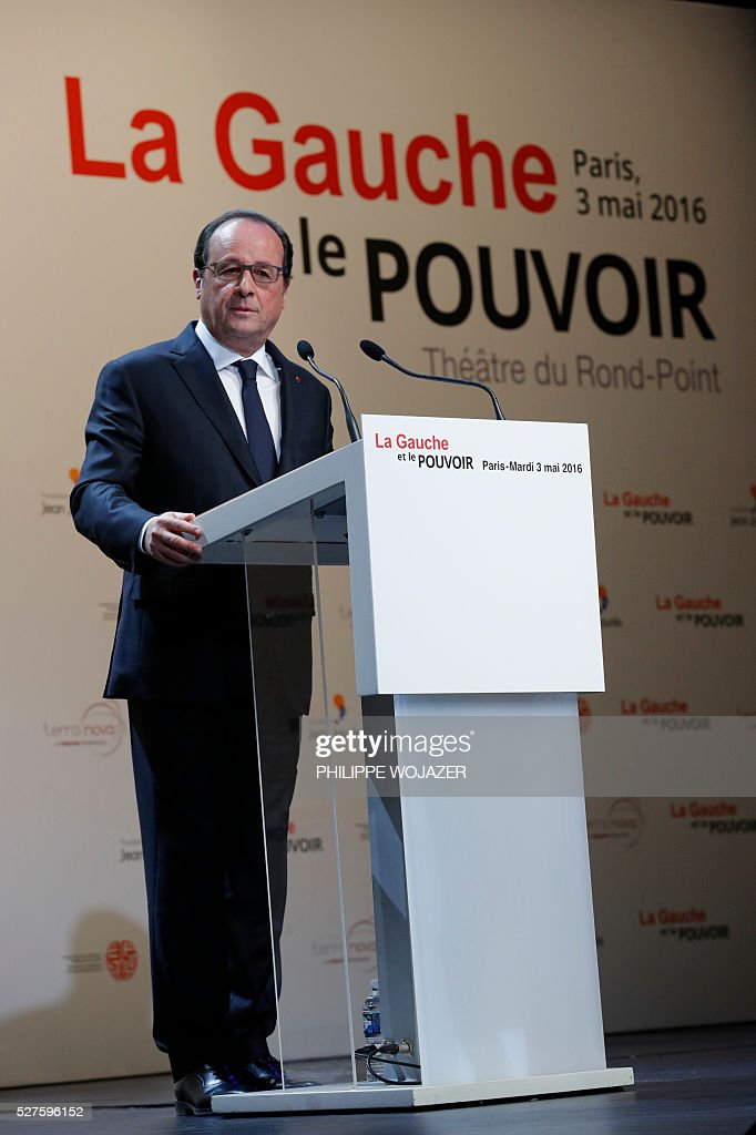 French President Francois Hollande looks on as he delivers a speech during the conference 'left wing and power' at the Jean-Jaures Foundation in Paris, France, May 3, 2016. Hollande defended on Tuesday his government's labour reforms law as a 'text of progress', a few hours before its examination by the parliament, adding he sees it as a 'dynamic and fair compromise'. / AFP / POOL / PHILIPPE