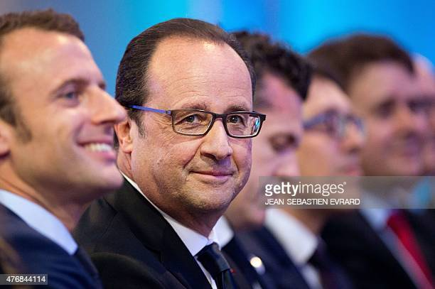 French President Francois Hollande looks on during the inauguration of the 'Cite de l'Objet Connecte' in SaintSylvaind'Anjoy near Angers western...