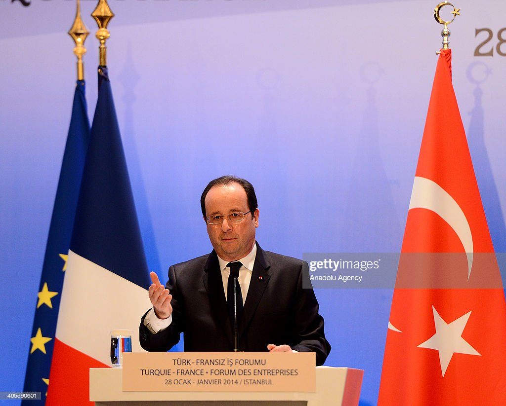 French President Francois Hollande makes a speech during the Turkish French Business Forum in Istanbul, Turkey, on January 28, 2014.