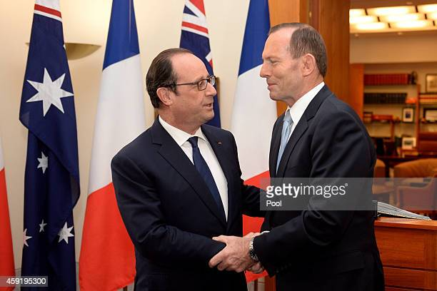 French President Francois Hollande meets Prime Minister Tony Abbott at Parliament House on November 19 2014 in Canberra Australia French President...