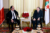 French President Francois Hollande meets with his Algerian counterpart Abdelaziz Bouteflika at the Zeralda private residence on June 15 in Algiers...
