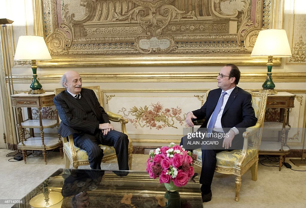 French President Francois Hollande (R) meets with Lebanese Druze leader and Lebanese Progressive Socialist Party (PSP) chairman <a gi-track='captionPersonalityLinkClicked' href=/galleries/search?phrase=Walid+Jumblatt&family=editorial&specificpeople=228719 ng-click='$event.stopPropagation()'>Walid Jumblatt</a> at the Elysee palace, on March 21, 2015, in Paris.