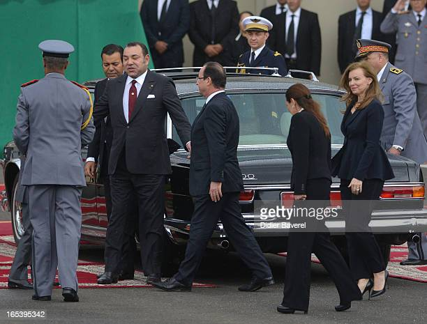 French President Francois Hollande Morocco's King Mohammed VI Crow Prince Moulay Hassan and Prince moulay Rachid attend the welcome ceremony at...