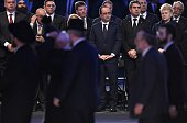 French President Francois Hollande President of Lithuania Dalia Grybauskaite attend the main ceremony to mark the 70th anniversary of the liberation...