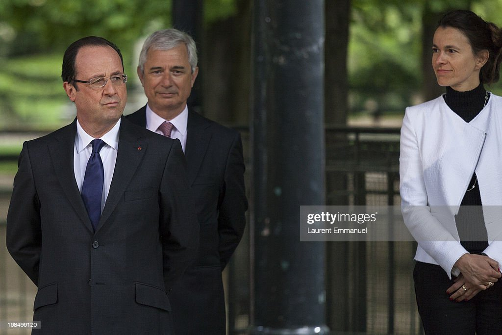 French President Francois Hollande, President of the French National Assembly <a gi-track='captionPersonalityLinkClicked' href=/galleries/search?phrase=Claude+Bartolone&family=editorial&specificpeople=551950 ng-click='$event.stopPropagation()'>Claude Bartolone</a> and French Culture Minister Aurelie Filipetti attend a ceremony marking the abolition of slavery in the Jardins du Luxembourg on May 10, 2013 in Paris, France. Taubira Law was passed in May 2001 acknowledging slavery and the Atlantic slave trade as crimes against humanity.