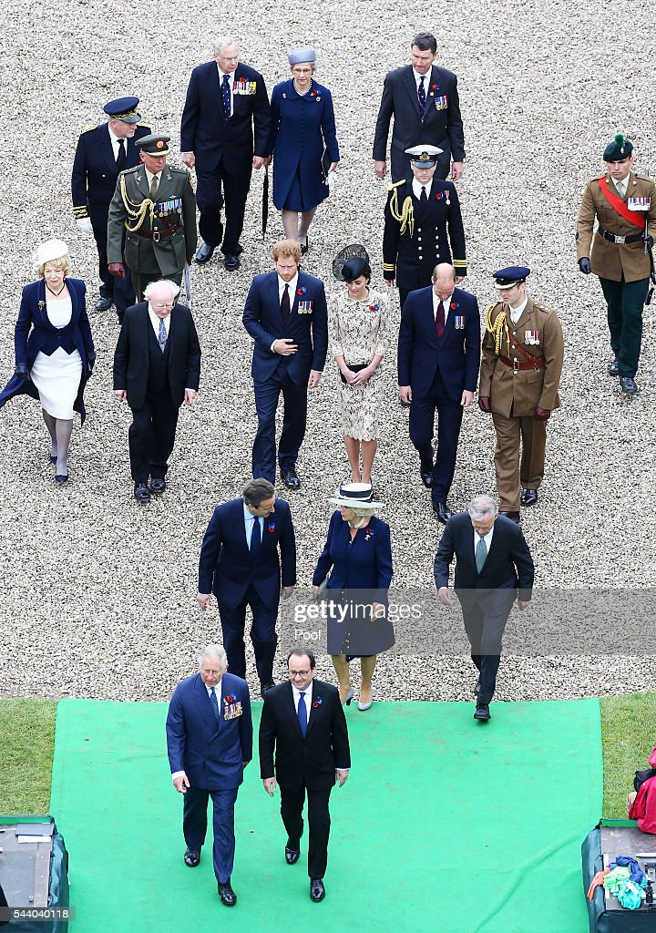 French President Francois Hollande, Prime Minister David Cameron, Prince William, Duke of Cambridge, Catherine, Duchess of Cambridge and Prince Harry attend a service to mark the 100th anniversary of the beginning of the Battle of the Somme at the Thiepval memorial to the Missing on July 1, 2016 in Thiepval, France. The event is part of the Commemoration of the Centenary of the Battle of the Somme at the Commonwealth War Graves Commission Thiepval Memorial in Thiepval, France, where 70,000 British and Commonwealth soldiers with no known grave are commemorated.