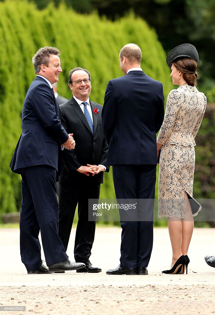 French President Francois Hollande, Prime Minister <a gi-track='captionPersonalityLinkClicked' href=/galleries/search?phrase=David+Cameron+-+Politician&family=editorial&specificpeople=227076 ng-click='$event.stopPropagation()'>David Cameron</a>, <a gi-track='captionPersonalityLinkClicked' href=/galleries/search?phrase=Prince+William&family=editorial&specificpeople=178205 ng-click='$event.stopPropagation()'>Prince William</a>, Duke of Cambridge and Catherine, Duchess of Cambridge attend a service to mark the 100th anniversary of the beginning of the Battle of the Somme at the Thiepval memorial to the Missing on July 1, 2016 in Thiepval, France. The event is part of the Commemoration of the Centenary of the Battle of the Somme at the Commonwealth War Graves Commission Thiepval Memorial in Thiepval, France, where 70,000 British and Commonwealth soldiers with no known grave are commemorated.