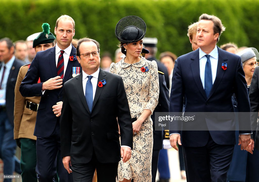 French President Francois Hollande, Prime Minister <a gi-track='captionPersonalityLinkClicked' href=/galleries/search?phrase=David+Cameron+-+Politician&family=editorial&specificpeople=227076 ng-click='$event.stopPropagation()'>David Cameron</a>, Catherine, Duchess of Cambridge and William, Duke of Cambridge attend a service to mark the 100th anniversary of the beginning of the Battle of the Somme at the Thiepval memorial to the Missing on July 1, 2016 in Thiepval, France. The event is part of the Commemoration of the Centenary of the Battle of the Somme at the Commonwealth War Graves Commission Thiepval Memorial in Thiepval, France, where 70,000 British and Commonwealth soldiers with no known grave are commemorated.