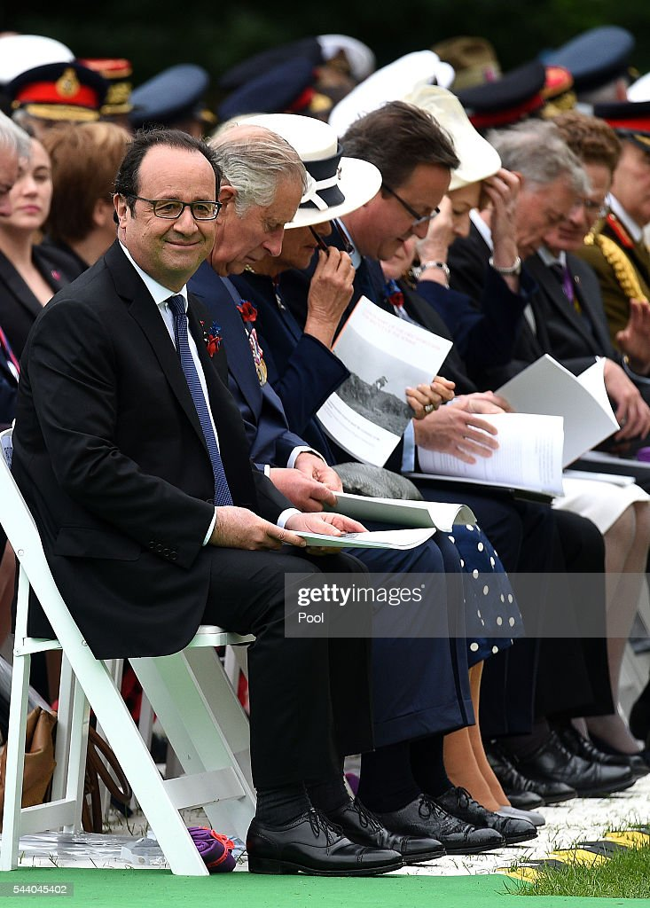 French President Francois Hollande, <a gi-track='captionPersonalityLinkClicked' href=/galleries/search?phrase=Prince+Charles+-+Prince+of+Wales&family=editorial&specificpeople=160180 ng-click='$event.stopPropagation()'>Prince Charles</a>, Prince of Wales, <a gi-track='captionPersonalityLinkClicked' href=/galleries/search?phrase=Camilla+-+Duchess+of+Cornwall&family=editorial&specificpeople=158157 ng-click='$event.stopPropagation()'>Camilla</a>, Duchess of Cornwall, Prime Minister <a gi-track='captionPersonalityLinkClicked' href=/galleries/search?phrase=David+Cameron+-+Politician&family=editorial&specificpeople=227076 ng-click='$event.stopPropagation()'>David Cameron</a>, Irish President <a gi-track='captionPersonalityLinkClicked' href=/galleries/search?phrase=Michael+D.+Higgins&family=editorial&specificpeople=7493414 ng-click='$event.stopPropagation()'>Michael D. Higgins</a> and his wife Sabina Coyne during the Commemoration of the Centenary of the Battle of the Somme at the Commonwealth War Graves Commission Thiepval Memorial on July 1, 2016 in Thiepval, France. The event is part of the Commemoration of the Centenary of the Battle of the Somme at the Commonwealth War Graves Commission Thiepval Memorial in Thiepval, France, where 70,000 British and Commonwealth soldiers with no known grave are commemorated.