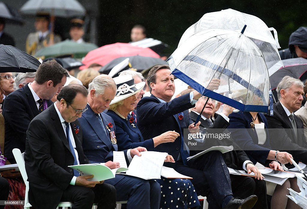 French President Francois Hollande, Prince Charles, Prince of Wales, Camilla, Duchess of Cornwall, Prime Minister David Cameron, Irish President Michael D. Higgins during the Commemoration of the Centenary of the Battle of the Somme at the Commonwealth War Graves Commission Thiepval Memorial on July 1, 2016 in Thiepval, France. The event is part of the Commemoration of the Centenary of the Battle of the Somme at the Commonwealth War Graves Commission Thiepval Memorial in Thiepval, France, where 70,000 British and Commonwealth soldiers with no known grave are commemorated.