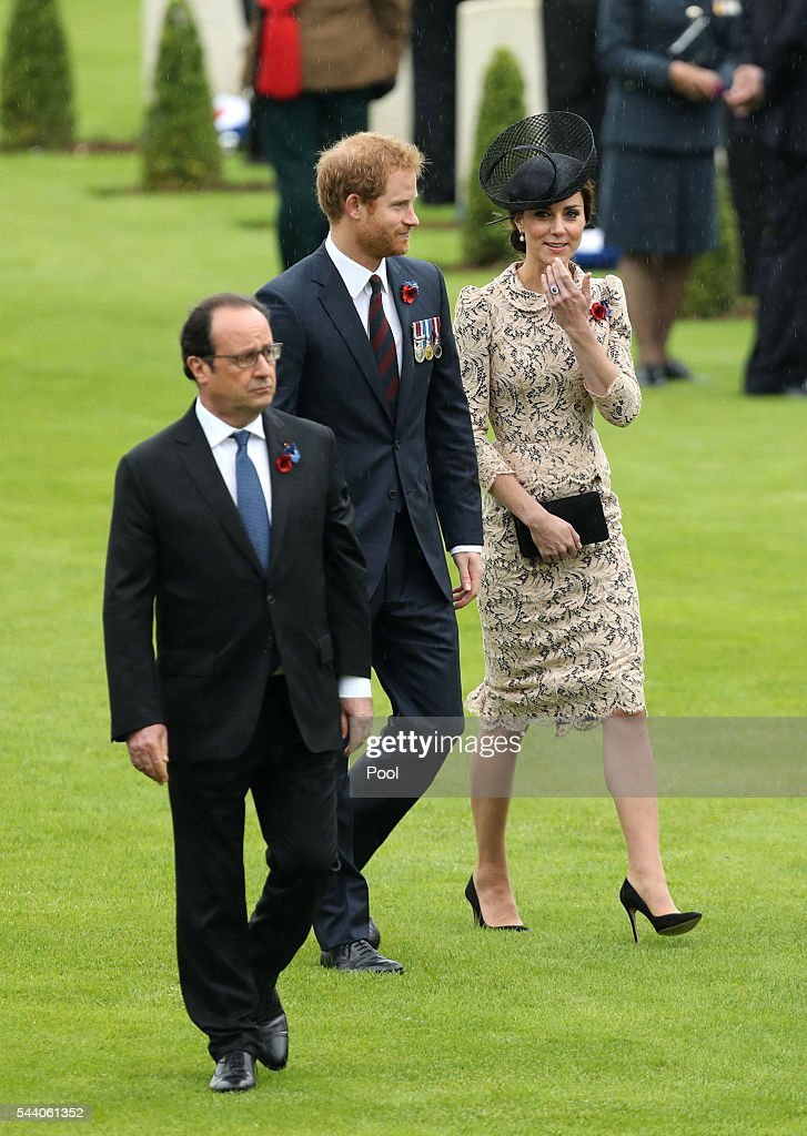 French President Francois Hollande, Prince Harry and Catherine, Duchess of Cambridge attend a service to mark the 100th anniversary of the beginning of the Battle of the Somme at the Thiepval memorial to the Missing on July 1, 2016 in Thiepval, France. The event is part of the Commemoration of the Centenary of the Battle of the Somme at the Commonwealth War Graves Commission Thiepval Memorial in Thiepval, France, where 70,000 British and Commonwealth soldiers with no known grave are commemorated.