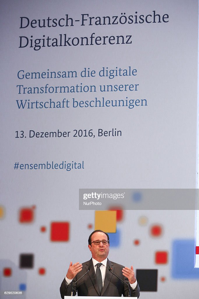 French President Francois Hollande reacts while speaking to the audience during a German-French digital conference at Federal Ministry for Economic Affairs and Energy in Berlin, Germany