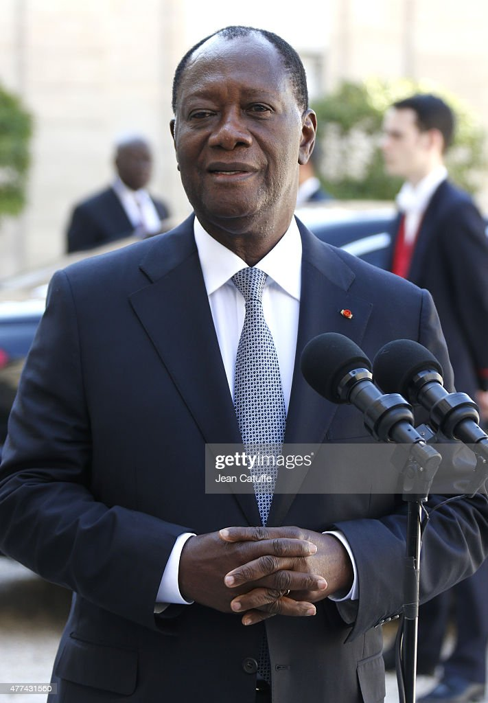 French President Francois Hollande Receives Ivory Coast President Alassane Ouattara At Elysee Palace