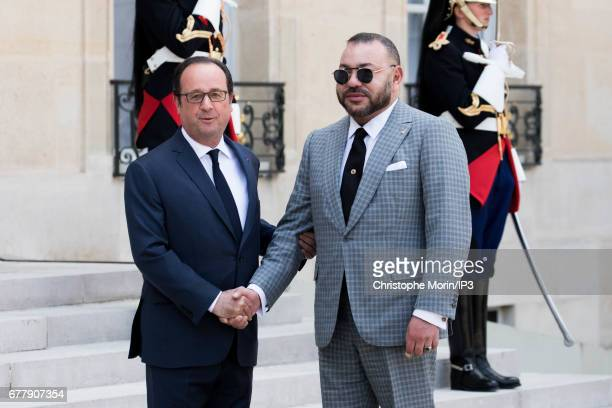 French President Francois Hollande receives King Mohammed VI of Morocco for a meeting and a lunch in order to discuss issues related to the fight...