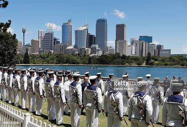French President Francois Hollande receives Military Honors at the Fleet Steps Royal Botanic Gardens on November 18 2014 in Sydney Australia French...