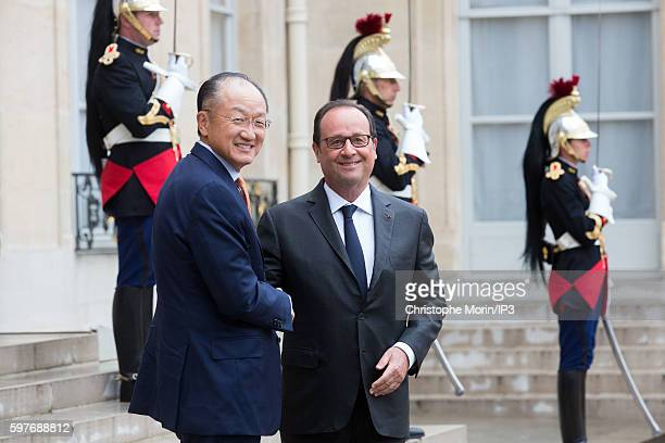 French President Francois Hollande receives President of the World Bank Jim Yong Kim for a meeting at the Elysee Palace on August 29 2016 in Paris...