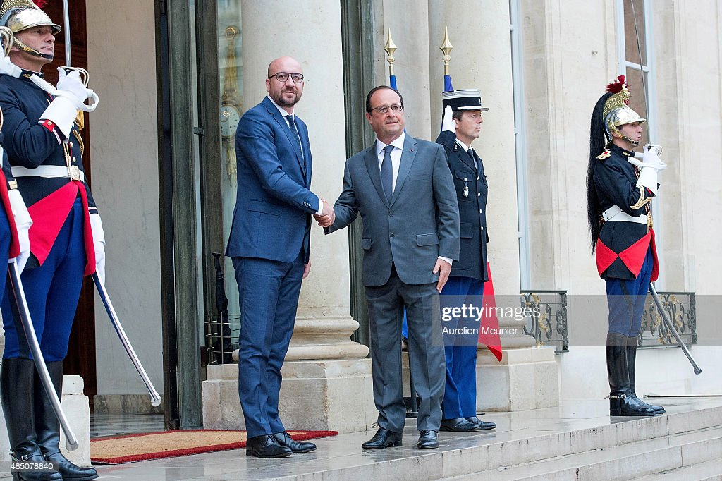 French President, Francois Hollande receives the Prime Minister of Belgium, <a gi-track='captionPersonalityLinkClicked' href=/galleries/search?phrase=Charles+Michel+-+Pol%C3%ADtico&family=editorial&specificpeople=13722663 ng-click='$event.stopPropagation()'>Charles Michel</a> at Elysee Palace on August 24, 2015 in Paris, France. Spencer Stone, Anthony Sadler and Alek Skarlatos are being awarded the Legion d'Honneur after overpowering the gunman, 25-year-old Moroccan, Ayoub El-Khazzani, on board a high-speed train after he opened fire on a Thalys train travelling from Amsterdam to Paris. El-Khazzani, who had a Kalashnikov, an automatic pistol and a box cutter, was arrested when the train stopped at the French town of Arras.