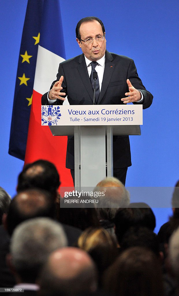 French President Francois Hollande speaks as he attends a New Year wishes ceremony for inhabitants of the Correze region, central France, on January 19, 2013 in Tulle.